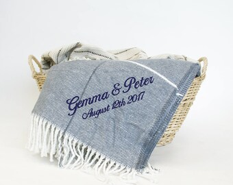 Personalised Throw Blanket Cotton 2nd anniversary Cotton gift, Thick & Luxurious (Slate Blue), Wedding / Housewarming gift