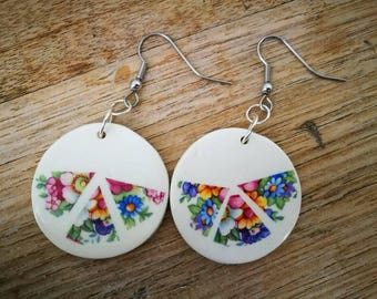 Ceramic dangly earrings with vintage flowers on white background, floral,shabby chic, retro, triangles