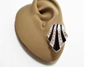 Avon Black Art Deco Clip On Earrings Silver Tone Vintage Rhinestone Encrusted Swirl Graduated Wide Disc Band