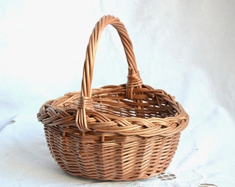 Easter basket etsy handwoven kids wicker basket easter basket egg hunt basketsmall flower girl basket negle Image collections