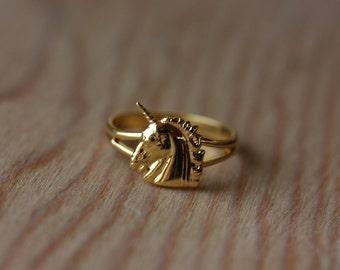 Unicorn Ring Gold, Adjustable Unicorn Ring, Small Gold Unicorn Ring, Vintage Unicorn Ring, Gold Ring, Unicorn, Adjustable Gold Ring, Ring
