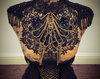 Black and gold beaded burlesque lace collar