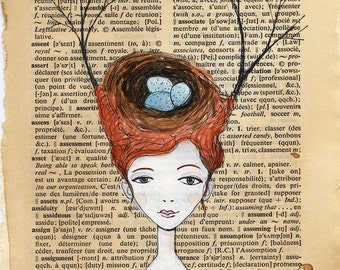 Bird Nest and Branches Headdress - Wild Head Piece, Dictionary Book Page illustration, Pen and paint, print 5x7