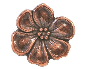 3 TierraCast Apple Blossom 5/8 inch ( 15 mm ) Copper Plated Pewter Buttons
