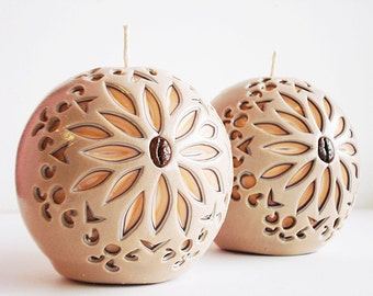 Carved candles, handmade ball, beige Brown peach candles, Interior candles, unique carved candles-carved candles