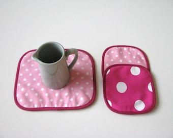 polkadot pink floral mug rug - pink cotton fabric trivets - set of 3x - hostess gift - polkadot pink shabby home decor