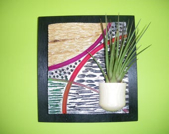 Frame contemporary wall plant, wood, unique piece, signed, gift, trendy decoration