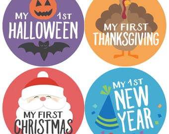 Holiday Baby Stickers, Baby Milestone Stickers, First Holiday Stickers