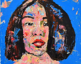 Colorful Acrylic Mixed Media Collage. Original Palette Knife Woman Portrait Painting. Gift For Her Apartment. Small Wall Art.