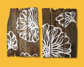 Free Shipping! Rustic Floral Painted Pallet Reclaimed Wood Art Wall Decor