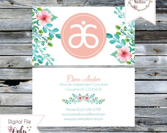 """Floral Watercolor Business Card // Pink // 3.5""""x2"""" // Double Sided // Personalized Digital Files"""