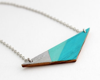 Geometric, triangle wooden necklace - silver, aqua blue, turquoise blue- minimalist, modern jewelry - color blocking