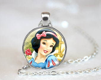 Snow White Inspired Glass Pendant/Necklace/Keychain