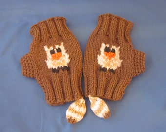 Hand-knitted Fingerless Gloves Mittens Arm Warmers, Knitted Fingerless Owl Gloves, Gift Ideas, Mittens with Owl tail, Owl gloves