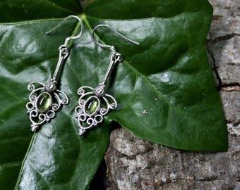 Gothic Style Peridot Drop Earrings, Sterling Silver