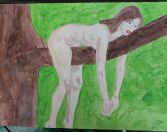 """female nude painting drawing """"Sloth"""" signed G.Vanspey A3"""