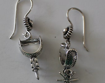 Sterling Silver 3D MOVEABLE SPURS Earrings - Equestrian, Western, Horse Riding