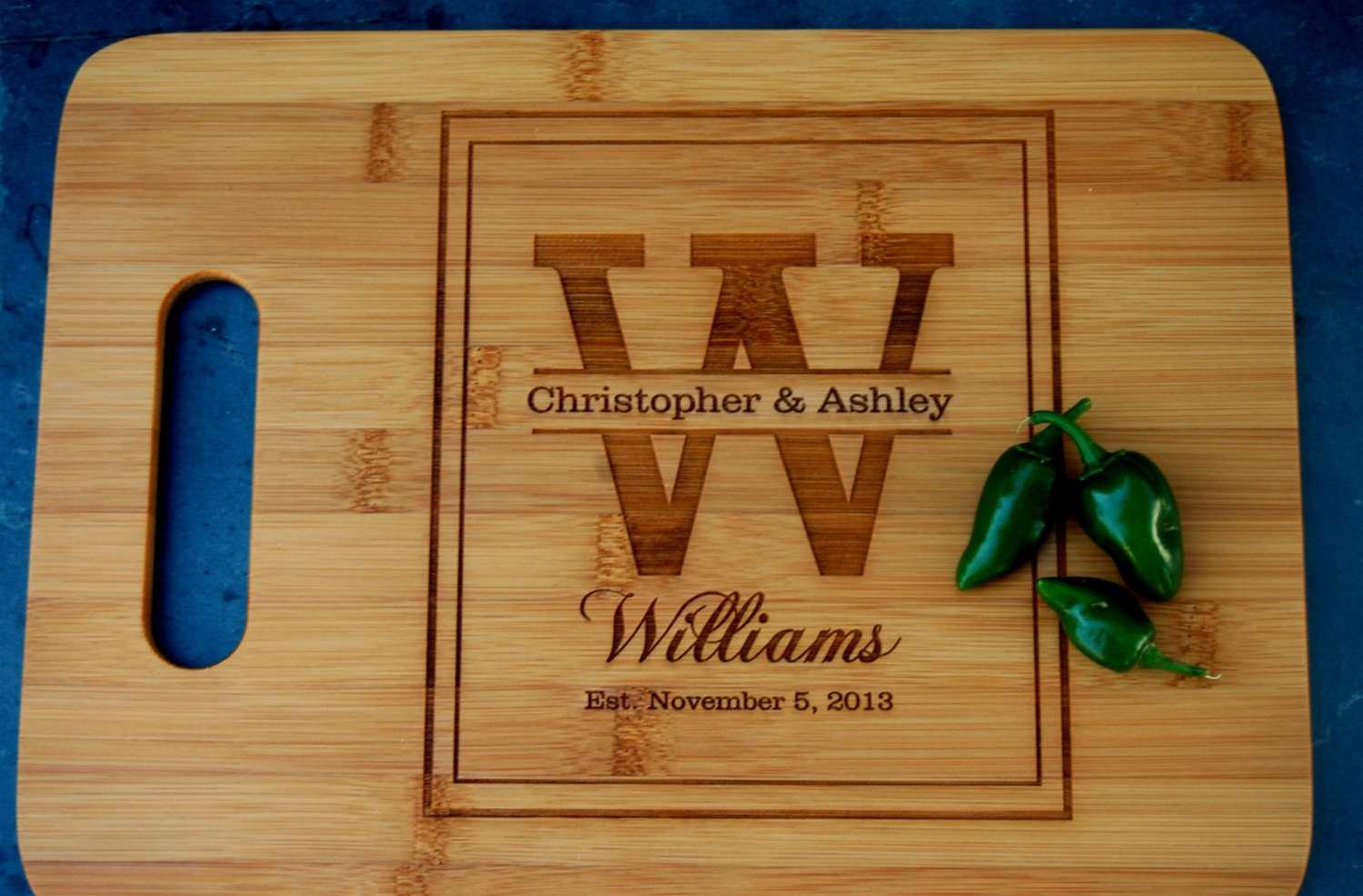 Personalized Engagement Gift Wooden Cutting Board Engraved