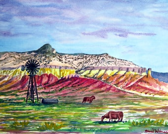 New Mexico landscape, near Ghost Ranch and Abiququ, Original watercolor