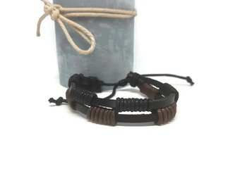 Black leather strap and cord black and Brown