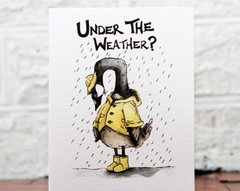 Funny Get Well Card, Silly Feel Better, Canada Goose Rain, Under Weather Card, Funny Weather Theme, Thinking of You Card, Sympathy Card