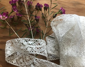 Delicate White Vintage Lace Possibly Handmade Over Eight Feet