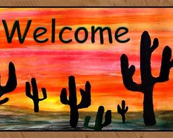 Welcome Cactus Desert area rug indoor-outdoor area rug,  Floor Mat. Available in 3 sizes