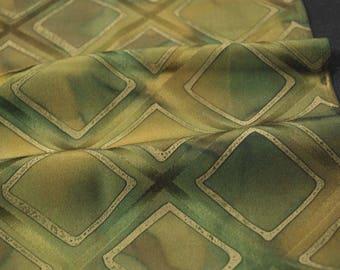 "10""w. x 29.7""l. Japanese vintage silk kimono fabric green squares 3089H"