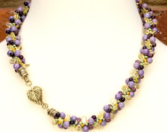 KUMIHIMO CHOKER Garden Necklace Purple Lavender Yellow Green Floral Gift for Her Nature Necklace Birthday Anniversary Mother's Day Handmade