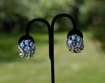 Vintage Crown Trifari Cabochon Blue Faux Moonstone Earrings