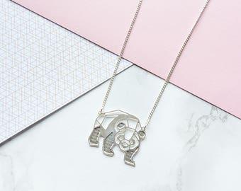Panda Necklace, Origami Necklace, Bear Necklace, Animal Necklace, Everyday Necklace
