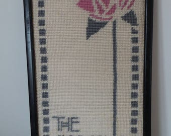 Rennie Machintosh The Glasgow Style Rose woven vintage wall hanging