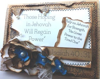 JW Greeting Card/JW Encouragement/Three-Dimensional Shabby Chic Vintage Style/Scriptures/Christian Greeting Card