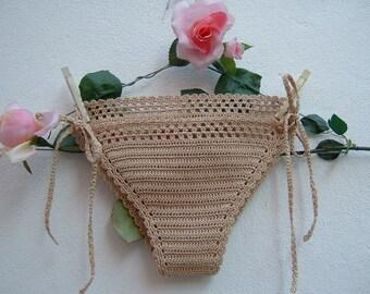 Ecru Cotton panties-hippie chic crochet Costume-beach bottoms with laces-boho sea fashion