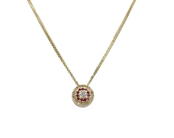 14K Gold Necklace set with Rubies and Diamonds,