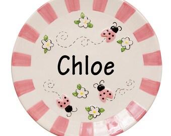 Girl's Personalized Ladybug Plate