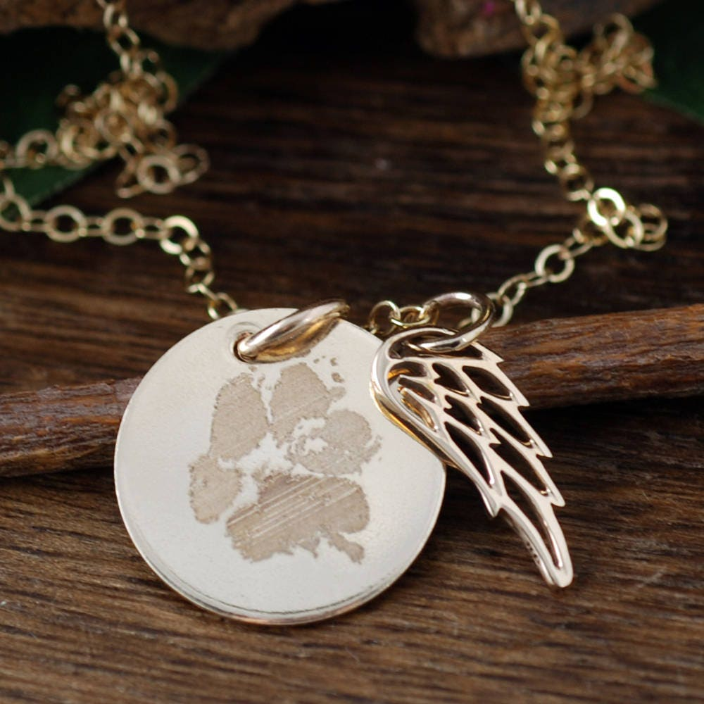 Custom paw print jewelry actual paw print necklace actual pet paw custom paw print jewelry actual paw print necklace actual pet paw engraved necklace with angel wings pet memorial jewelry loss of pet aloadofball Images