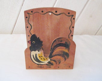 Rooster Napkin Holder, country decor, Wall Letter Holder, 60s woodpecker woodware