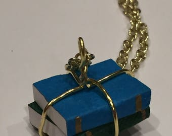 Book Lover's Blue and Green Necklace