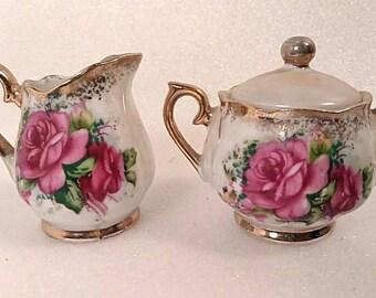 Vintage Pink Rose Porcelain Cream and Sugar Set