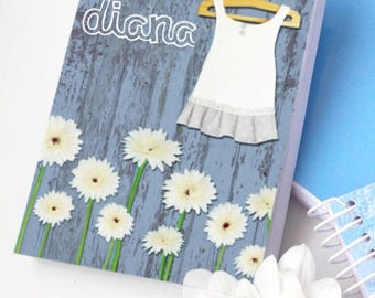Country-Inspired, Daisies, Stationery Gifts, Spiral Notebook, Blue Notepad, Customised Notebook, Gift for Girls, School Supply, Handmade