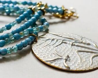 Jewellery Necklace Statement Dragonfly Pendant  Blue Gemstone Necklace, Blue Layering necklace Blue Gold Necklace Aquamarine gemstone