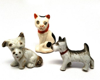 Vintage Dog and Cat Figurines, Miniature, Japan, Googly Eyes, Terrier, Schnauzer