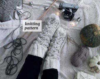 Comfy Socks Knitting Pattern , Bed Cable Socks, Knitting Pattern for Winter Accessories