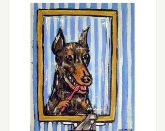 25% off Doberman Brushing Teeth Dog Art Print   JSCHMETZ modern abstract folk pop art AMERICAN ART gift