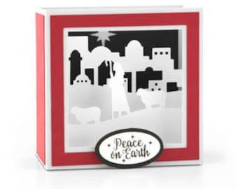 Shepherd Scene Box Card , Merry Christmas , Bethlehem , 3D , Stand Up , Holidays , Animals