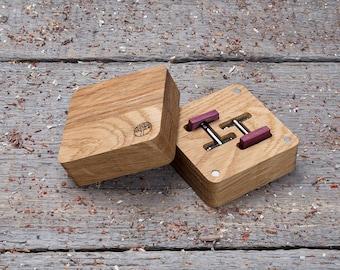 Wooden Cufflinks, Square Purpleheart wood cuff links, free shipping, wood gift box Cufflinks set, groomsman cufflinks set of 2-4-6-10