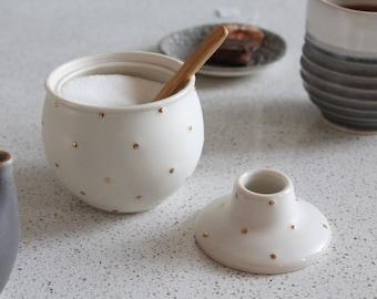 Sugar Bowl With GOLD polka dots - Pottery mini honey pot