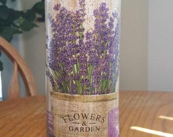 Lavender Vase,Decoupage,Hand Painted,Flower & Garden,Spring Decor,Glass Vase,Flower Vase,Home decor