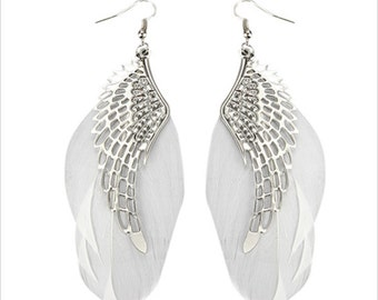 White Angel Wings Feather Earring Chandelier Long Earrings Free Shipping special offer sale discount